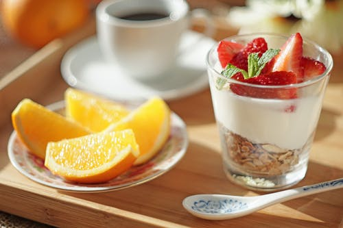 Free stock photo of breakfast, orange, strawberries, yogurt