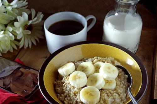 คลังภาพถ่ายฟรี ของ oatmeals, กล้วย, อาหารเช้า
