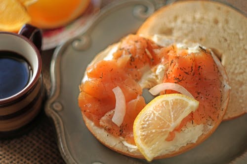 Free stock photo of bagles, cream cheese, nova, smoke salmon