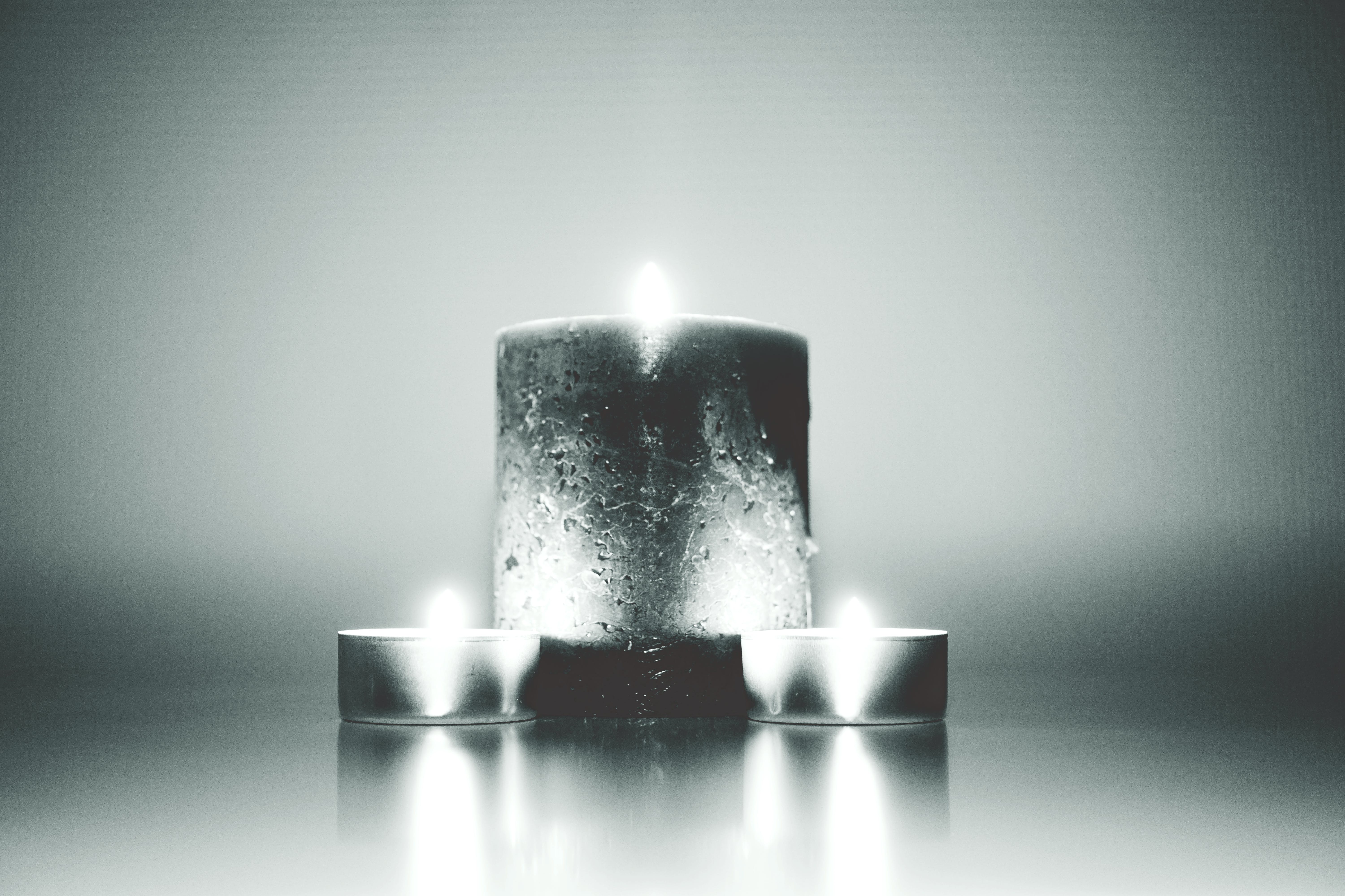 black-and-white, blur, candles