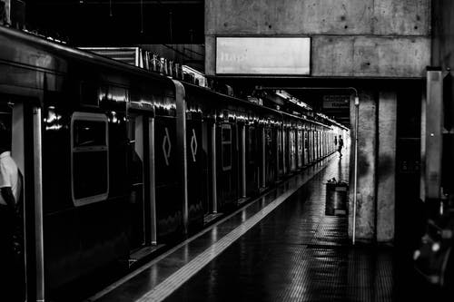 Grayscale Photography of Train Station