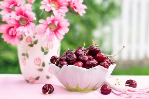 Red Cherries on Bowl