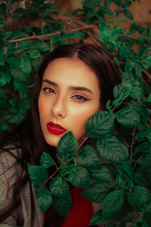 Foto stok gratis atraktif, bagus, berambut cokelat, bibir merah