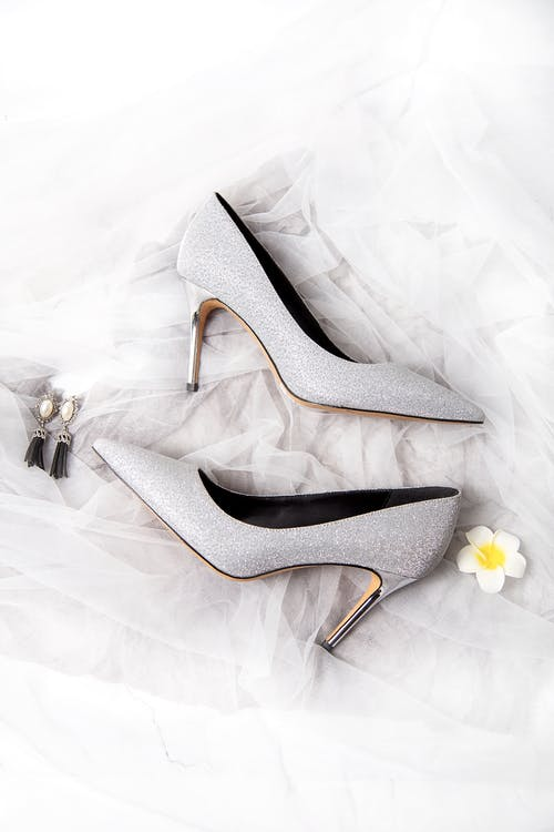 White and Black Peep Toe Heeled Shoes