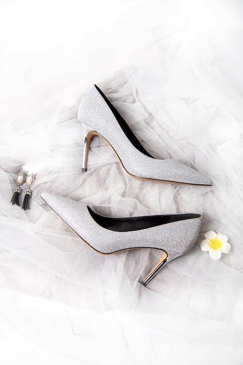 White and Black Peep Toe Heeled Shoes