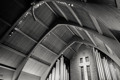 Brown Wooden Ceiling With White Cross