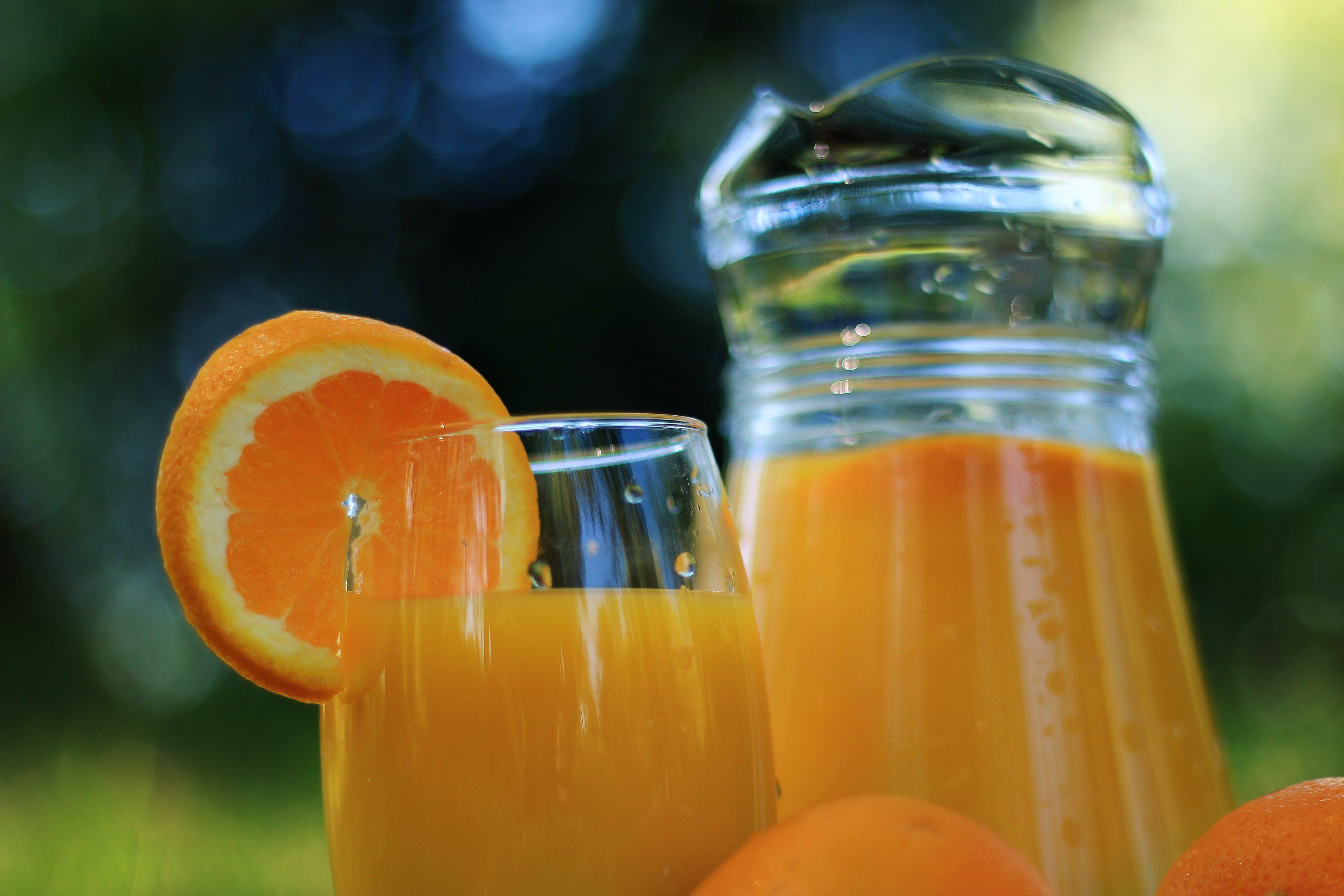 Orange Juice on Clear Drinking Glass