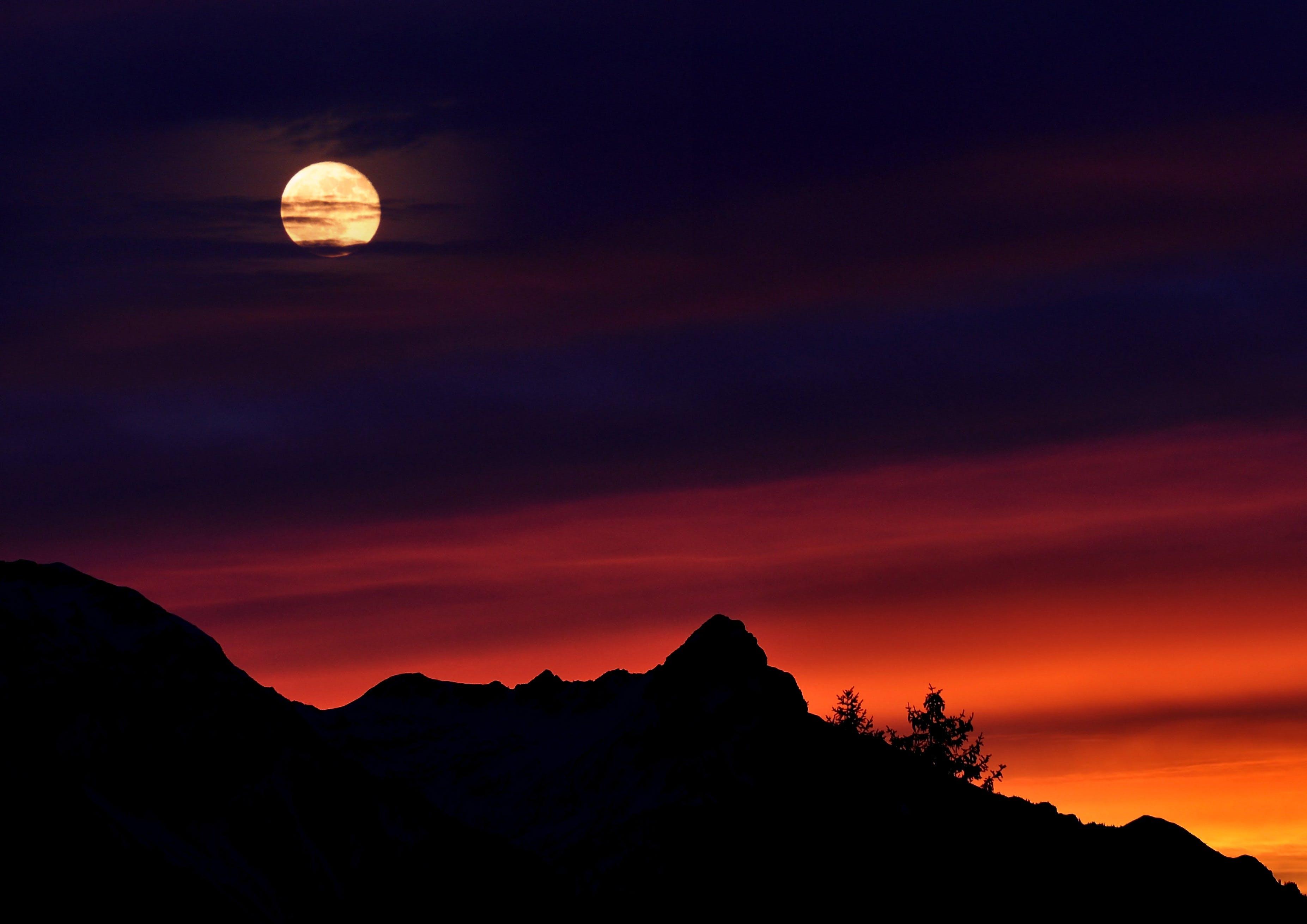 berge, berggipfel, dunkel