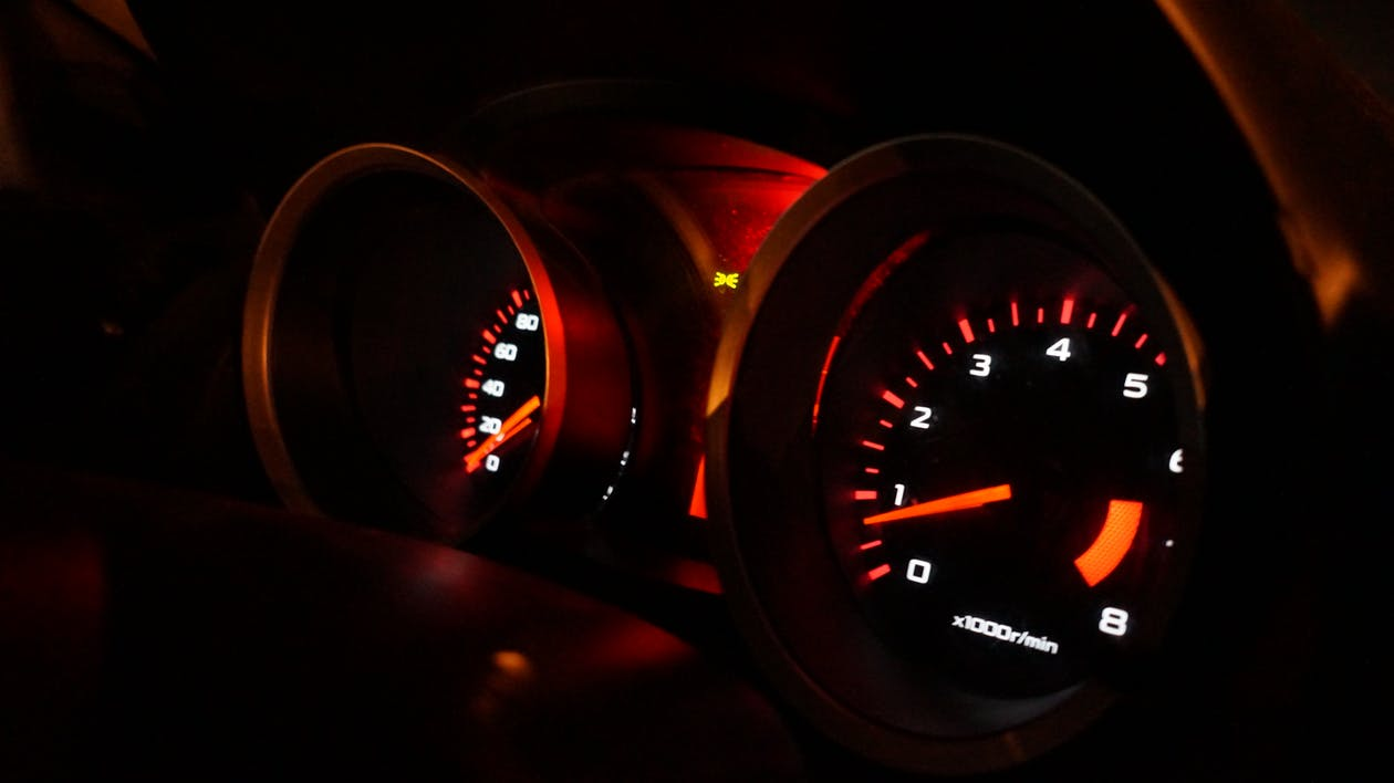 Selective Focus Photography of a Speedometer