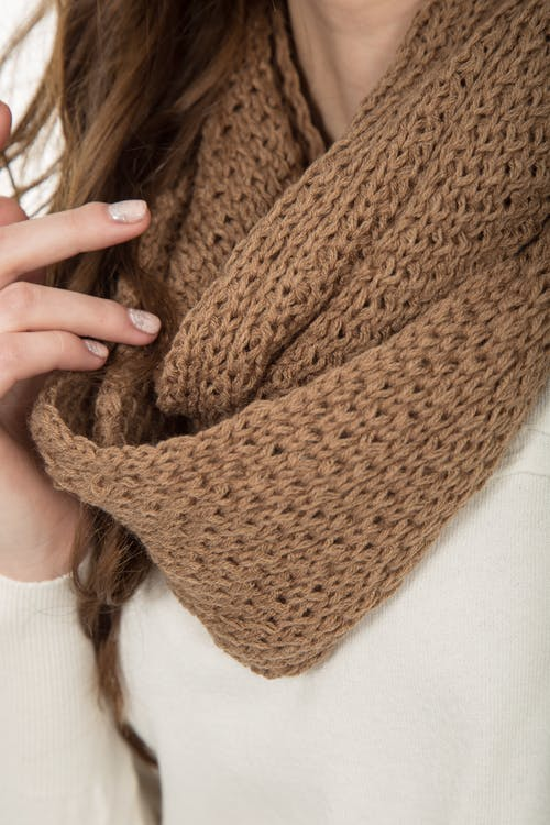 Woman in Brown Knit Scarf