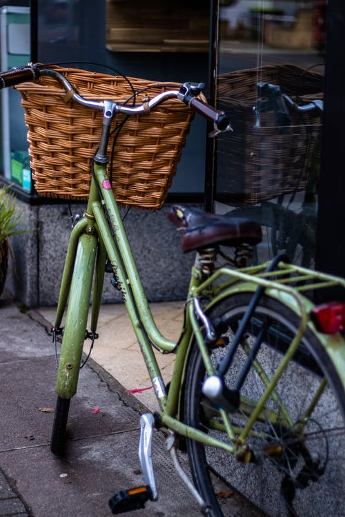 Free stock photo of bicycle, bike, bike on wall, bike with basket