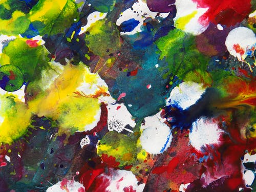 Green Red and White Abstract Painting