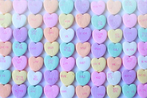 Heart Shaped Candies in Pastel Color