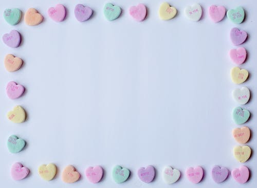 Pastel Colors of Heart Shaped Candies