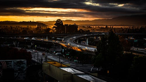 Free stock photo of beams of light, cloudy, freeway, morning