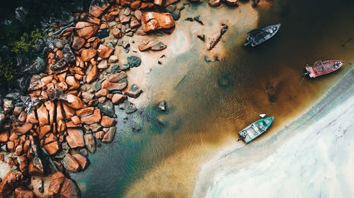 Aerial View of Boats on Seashore