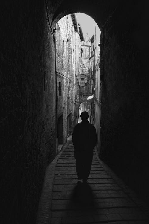 Free stock photo of alley, black and white, italy, man