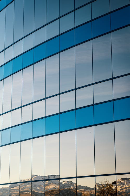 Blue and White Glass Walled Building