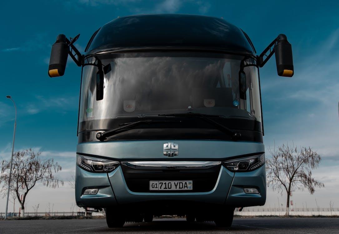 Black Blue Bus on Road