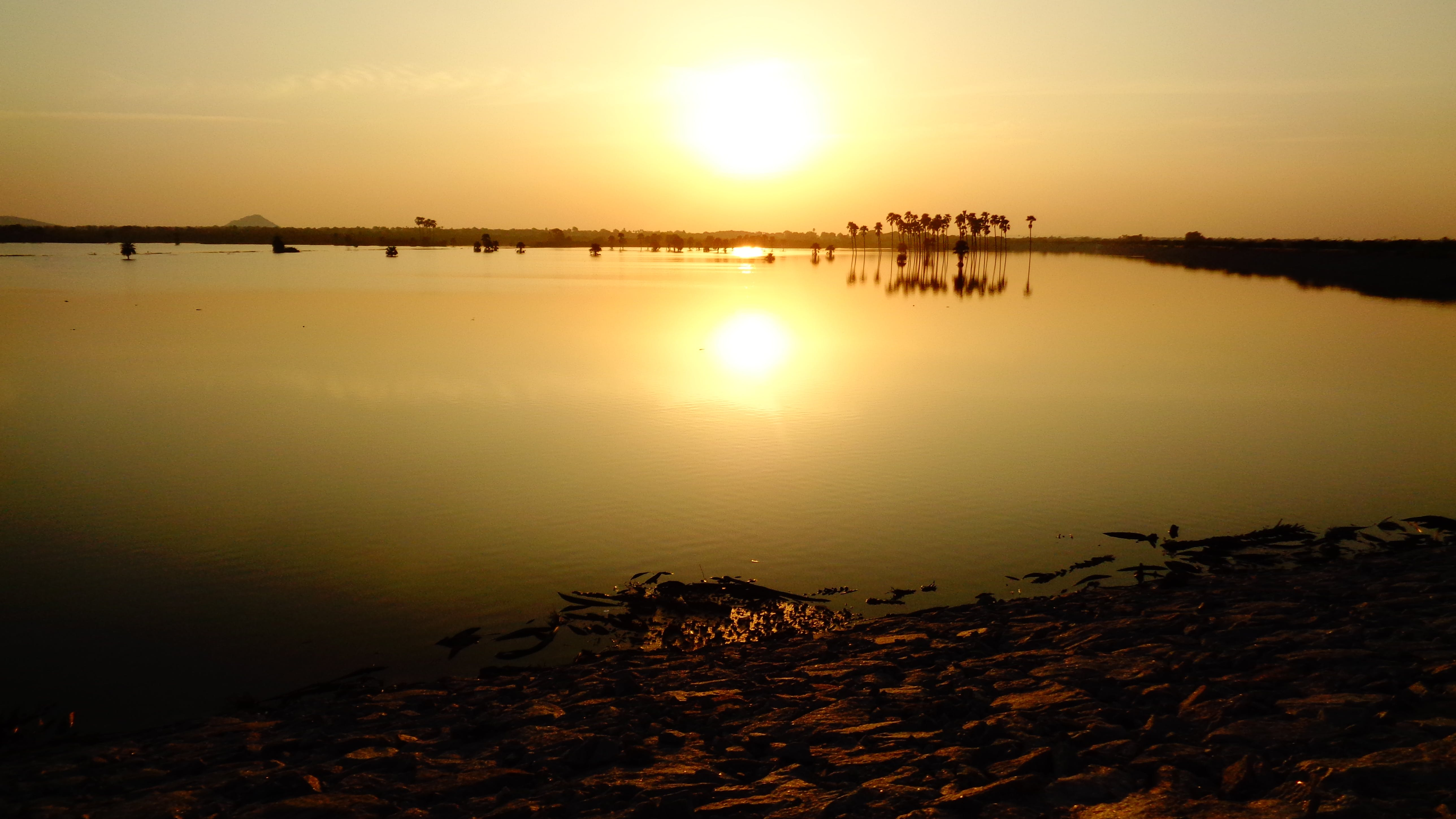 Free stock photo of lakeside view sunset