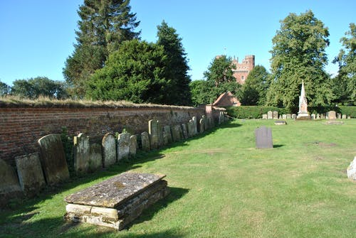 Free stock photo of church, Church grounds, grave stones, graves
