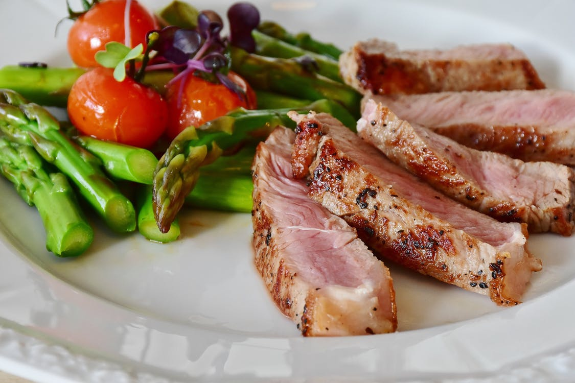 Grilled Meat Dish Served on White Plate