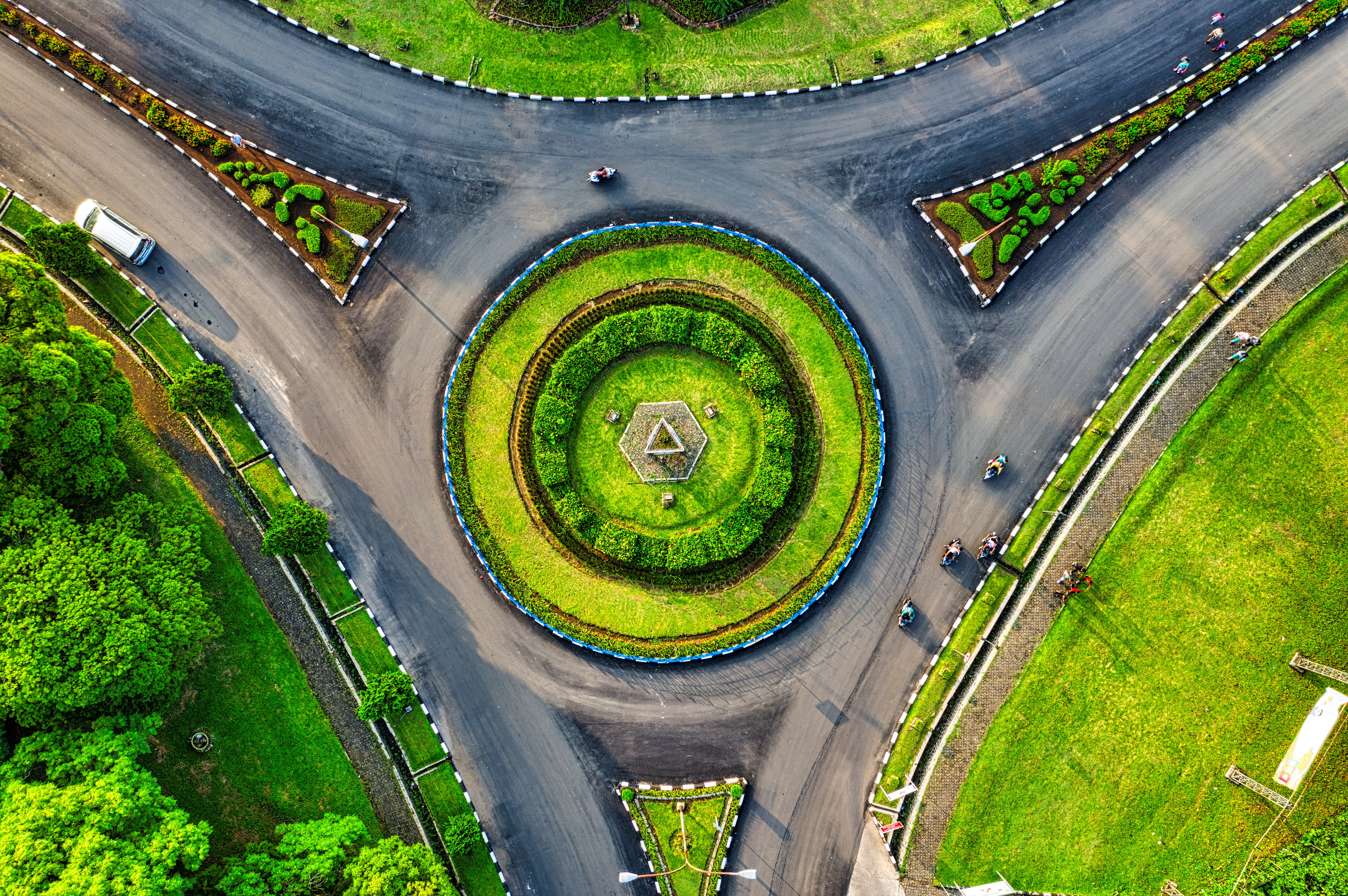 Aerial View Of Roundabout Free Stock Photo