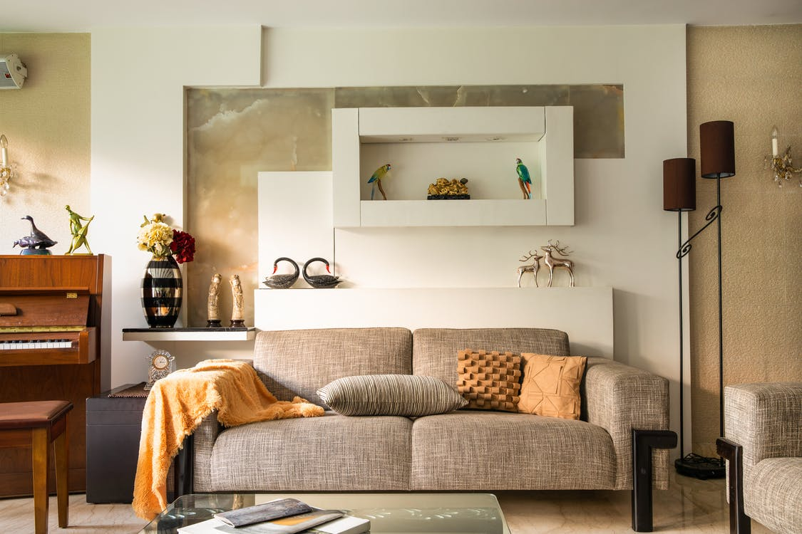 Gray Couch With Throw Pillows
