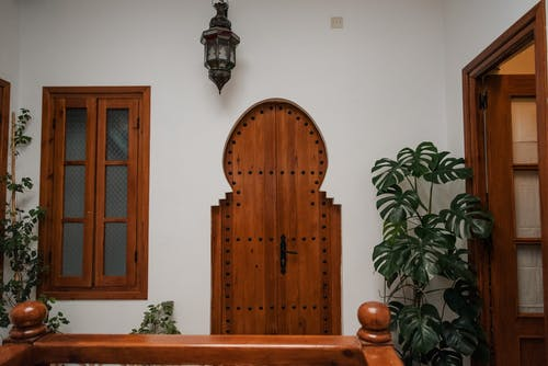 Brown Wooden Door Beside Green Plant
