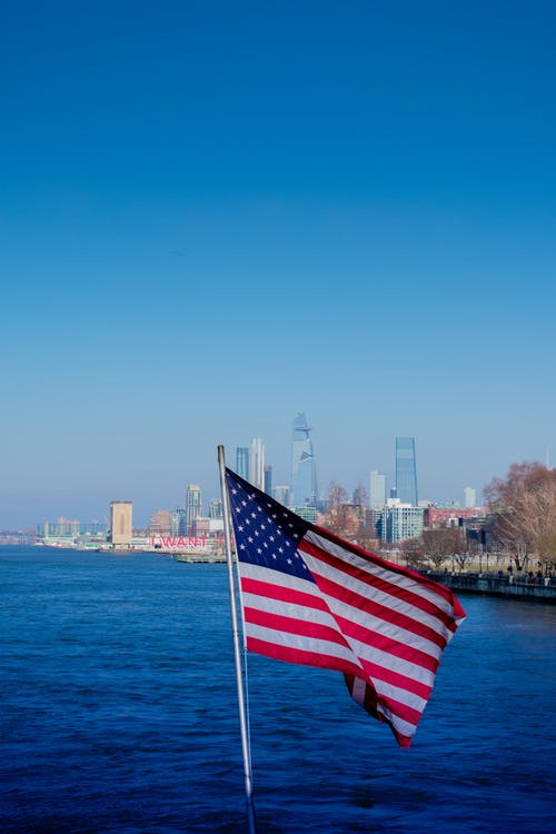 Free stock photo of American flag, new york city