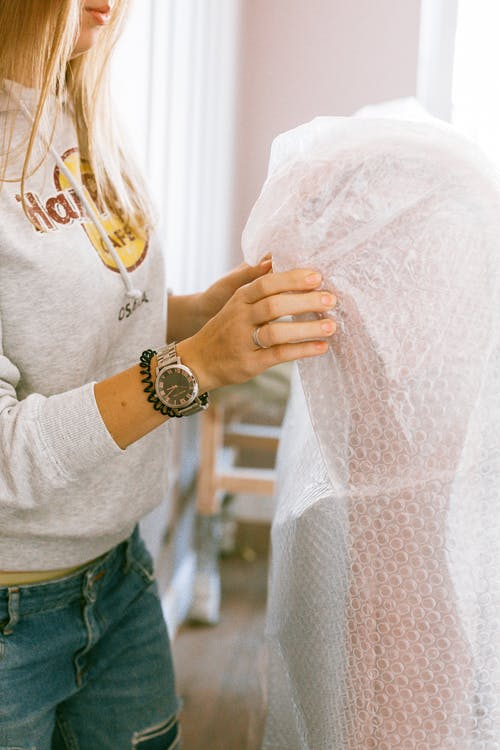 Woman Holding a Bubble Wrap