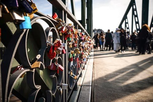 Free stock photo of bridge, bright colors, love locks