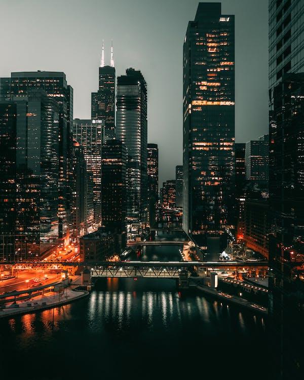 abend, architektur, brücke