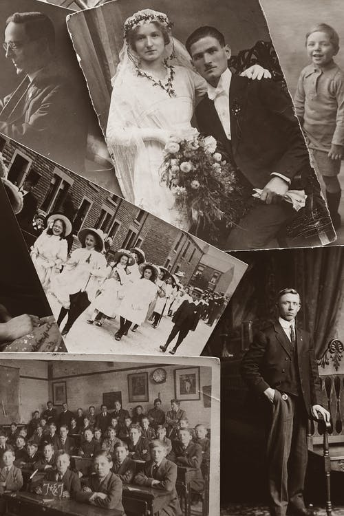 Monochrome Photo of Old Pictures