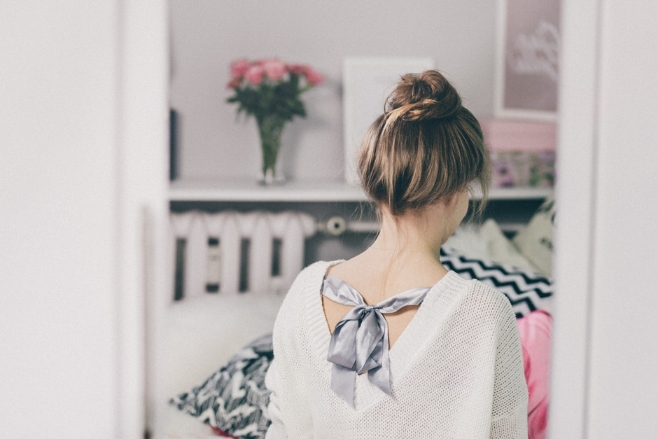 adult, back view, brunette