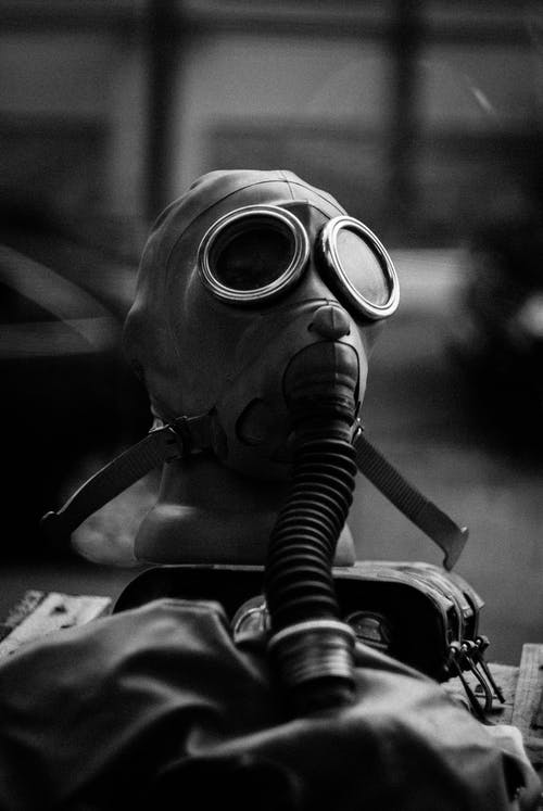 Grayscale Photo of Gas Mask