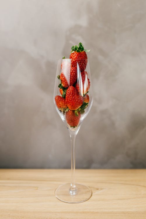 Strawberries in Clear Glass