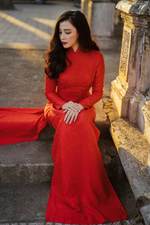 Woman Wearing Red Dress