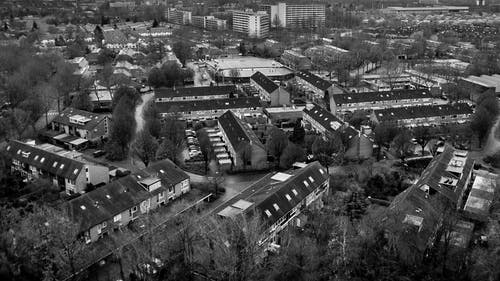Free stock photo of black&white, cityscape, small town