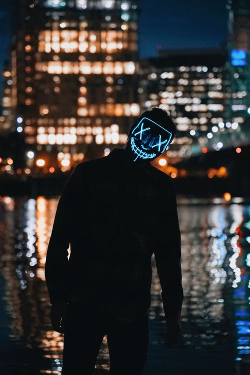 Person Wearing Light Mask