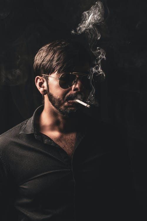 Man Wearing Sunglasses Smoking