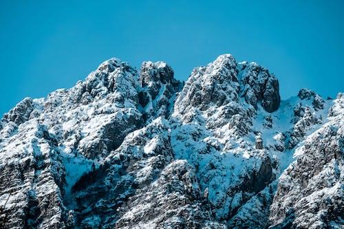 Gratis stockfoto met besneeuwd, blauwe lucht, buiten, met sneeuw bedekte berg