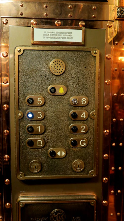 Free stock photo of button, copper, elevator, lift