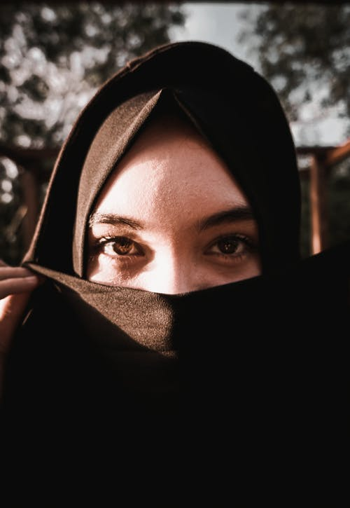 Woman Wearing Black Hijab Covering Her Face