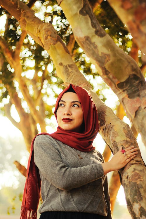 Beautiful girl with a maroon headscarf standing near a tree