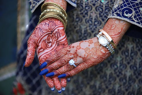 Free stock photo of engagement, hands, mehndi design, ring