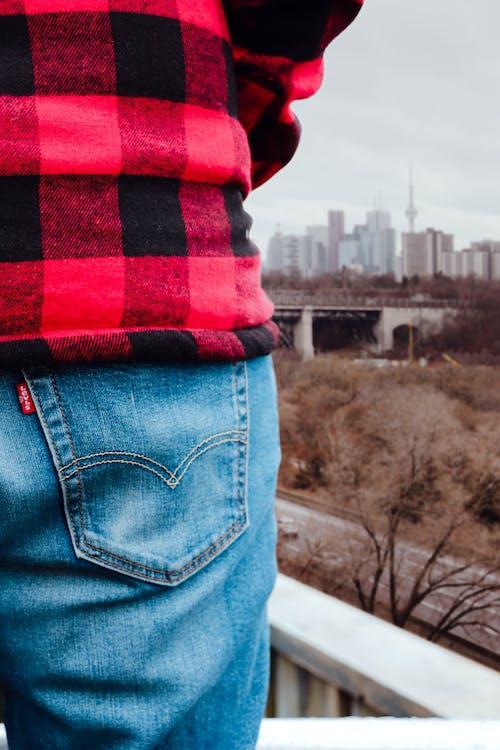 blue, blue jeans, buffalo plaid