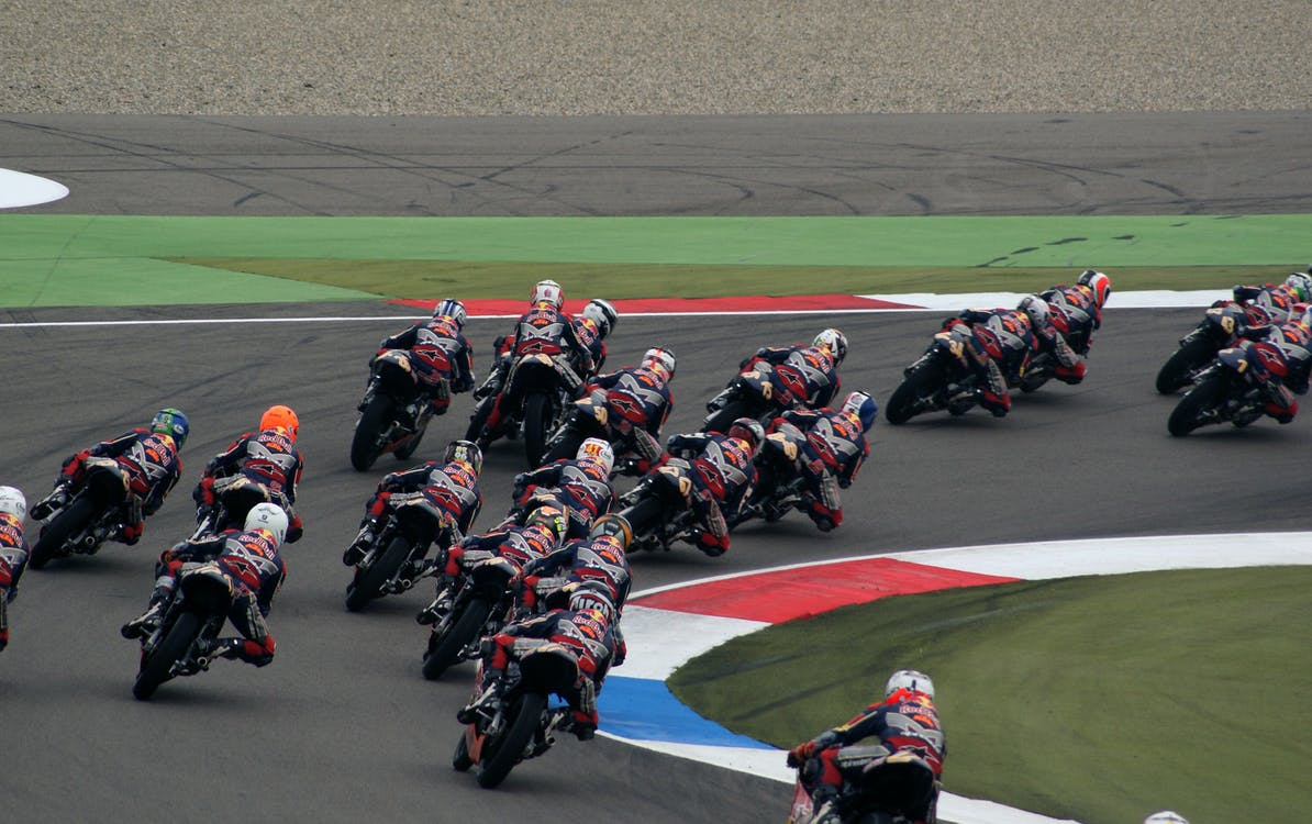 Red and Black Motorbike Speed Race