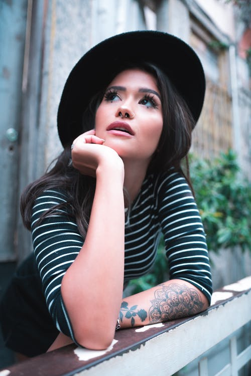 Woman Wearing Striped Top