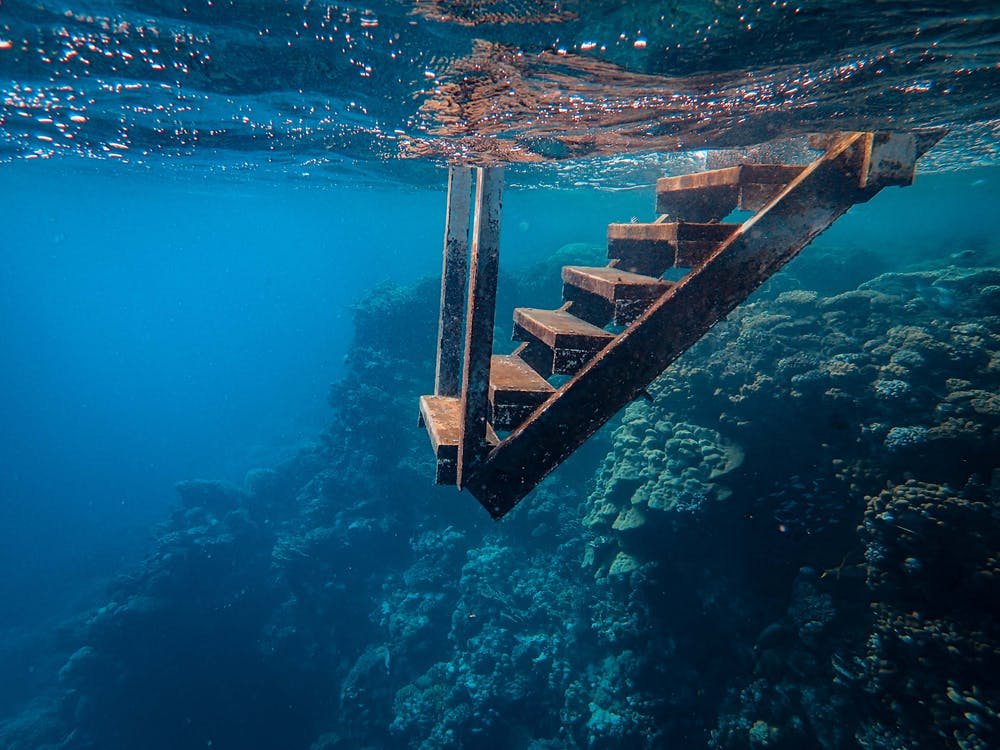 View Of Wooden Steps Taken Underwater